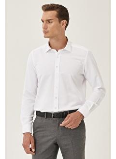 AC&Co / ALTINYILDIZ CLASSICS Tailored Slim Fit Klasik Gömlek Yaka Armürlü Gömlek 4A2000000060